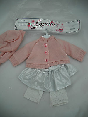 Sophias Silver Skirt And Pink Cardigan Outfit For 18 Inches Doll