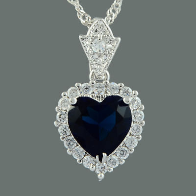 Heart of the Ocean Titanic Blue Sapphire Silver Necklace 21 Inches Gift