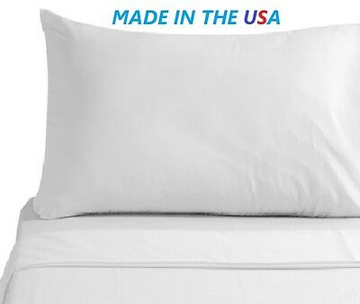 6 New White T250 Premium Pillow Cases King Size 20X40 American Made Hotel Sale