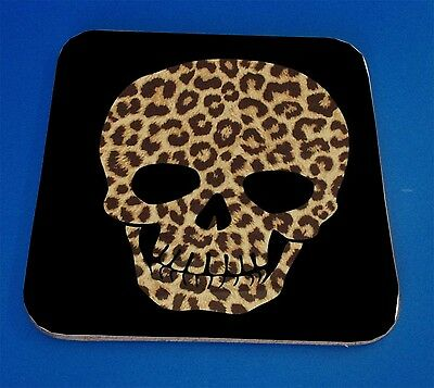 Leopard Print Skull, Drinks Coaster, Great Gift Birthday xmas Christmas Present