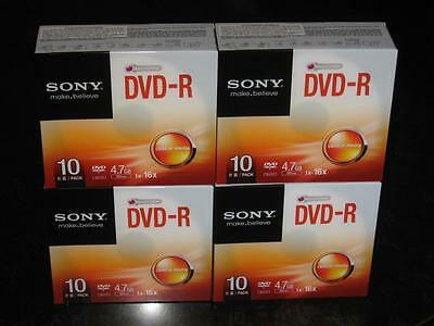 40 x SONY DVD-R 4.7GB 16x SPEED, individual clear slim cases - NEW