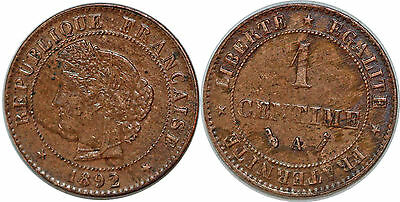 1 Centime 1892 Ceres F.104 Sup!!!