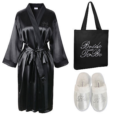 Crystal Bride To Be Satin Bathrobe+Tote Bag+Spa Slipper set Kimono Dressing gown