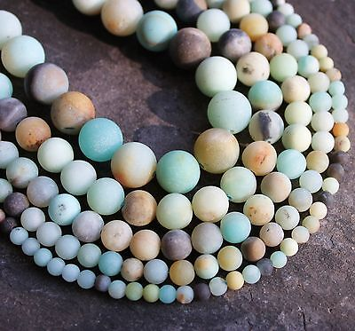 """Amazonite frosted 4mm - 14mm round matt natural beads. 15"""" strand.  SP157"""