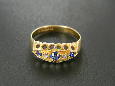 VICTORIAN or WORLD WAR 1! 18CT GOLD SAPPHIRE AND DIAMOND RING! 1918 or 1893!