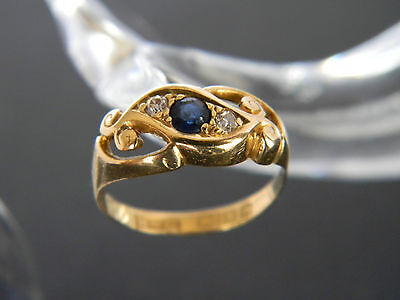 Antique Victorian 18Ct Gold Sapphire And Diamond Ring!