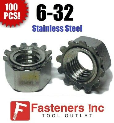 (Qty 100) 6-32 Kep Hex Star Lock Nuts Stainless Steel 18-8 / 304