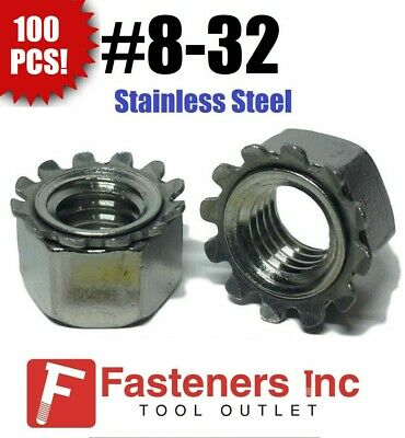 (Qty 100) #8-32 Kep Hex Star Lock Nuts Stainless Steel 18-8 / 304