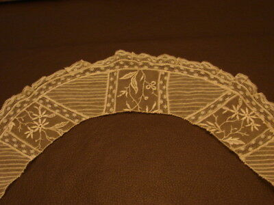 Antique Lace Tambour Embroidered Net Lace Collar French Valenciennes Lace Trim