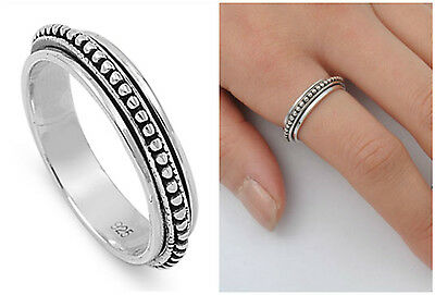 .925 Sterling Silver 5MM LADIES AND MENS SPINNER DESIGN RING SIZES 6-14