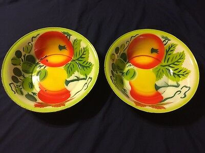 """One Vintage 11 7/8"""" Enamelware Vibrant Colorful Fruit Pattern Bowl 2 Available!!"""