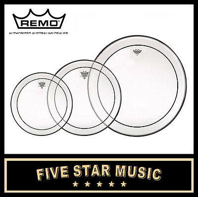 "Remo Pinstripe Clear 3 Pce Drum Skin Rock Tom Set 12"" 13"" 16"" Heads New"