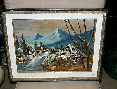 Vintage Bark Art Curved Painting Alpine Stream German 3D Scene 1950's Diorama