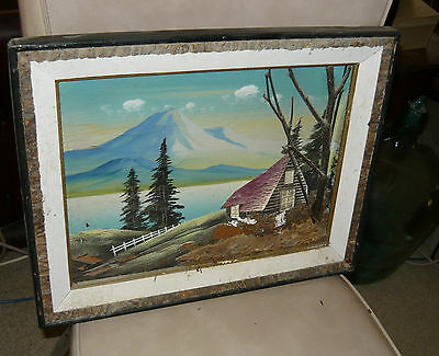 Vintage Bark Art Curved Painting German Alpine Cottage Scene 1950's Diorama