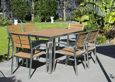 Outdoor Setting, Plywood 7 pieces Table Chair, Alum Stainless Tube, Timber Set