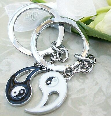 2 x Yin & Yang Keyring keychain Pair Set Charm Couple ying His Hers Best Friends