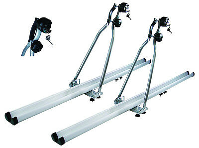 2 x ALUMINIUM CAR ROOF MOUNTED LOCKING CYCLE CARRIERS bicycle rack holder BR-006