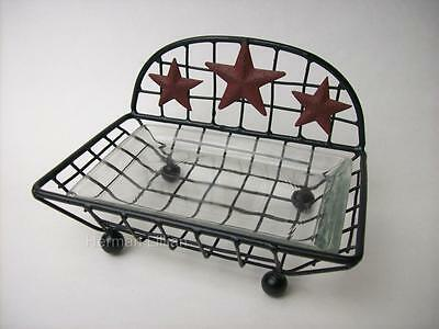 Country Primitive Metal Farmhouse Barn Star Soap Dish Holder With Glass Insert
