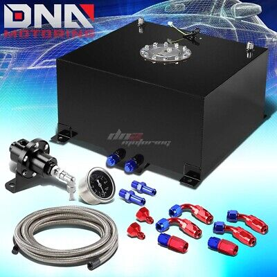 10 Gallon/38L Aluminum Fuel Cell Tank+Oil Feed Line+1:1 Pressure Regulator Black