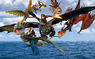"""How to Train Your Dragon 1 2 Wall Movie 40""""x24"""" Poster H31"""
