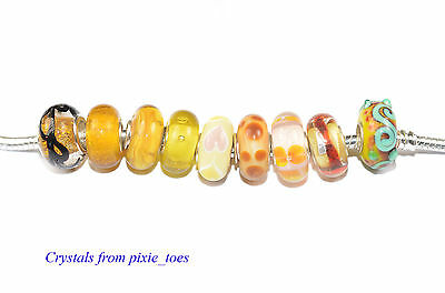 Shades of Yellow Murano Glass Charm Bead Big Hole fit European Bracelet