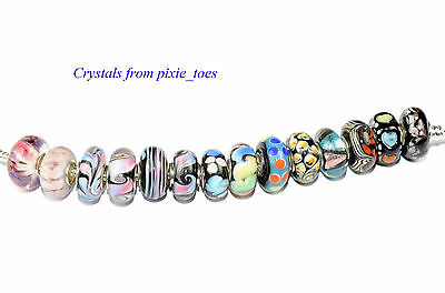 Purples and Blacks -  Murano Glass Charm Bead Big Hole, fit European Bracelet