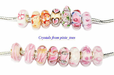 Shades of Pink - Murano Glass Charm Bead Big Hole, fit European Bracelet