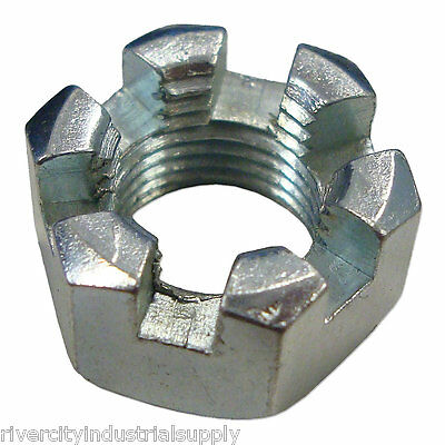 (100) 1/2-13 Slotted Hex Castle Nut Zinc Plated 1/2 x 13 Coarse Thread 100 Pack