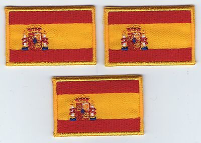 Lot 3 Ecusson Patche Thermocollant Drapeau Espagne Dimensions 4,5 X 3 Cm