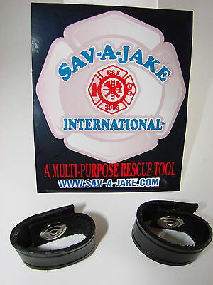 Sav-A-Jake Firefighter Leather Radio Strap Cord Keepers Set of 2