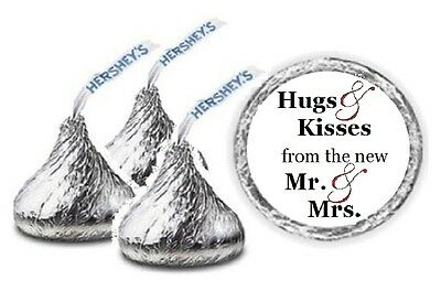 108 Personalized Hugs & Kisses Wedding Hershey Kiss Candy Labels Favors