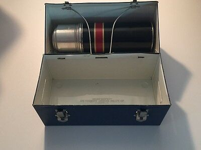 Vintage Childrens Thermos Lunch Box Metal Navy Cork Thermos Great Condition