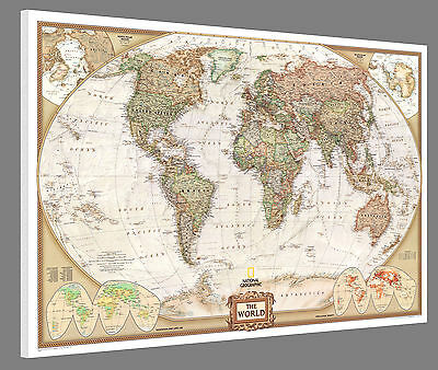 """Mounted World Map - National Geographic Executive 36"""" x 24"""" - World Pin Map"""
