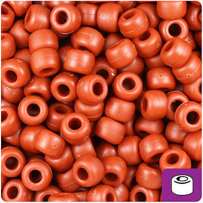 500 Rust Red Opaque 9x6mm Barrel Pony Beads Made in the USA by The Beadery