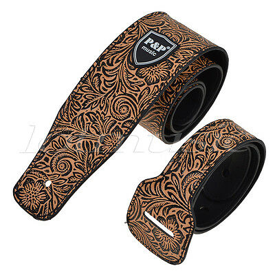 Padded Guitar Strap Leather Embossed Adjustable For Acoustic Electric Bass