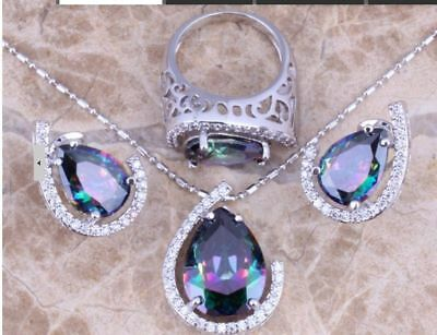 Rainbow Mystic White Topaz 925 Sterling Silver Jewelry Sets