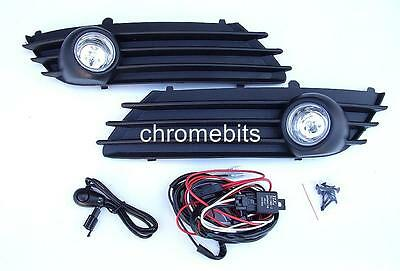 Fog Lights Lamps Grilles Set For Opel Vauxhall Astra H 2004-2006 + Wiring Kit A1