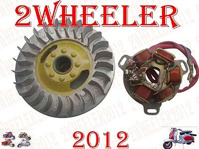 Magneto/flywheel And Stator Assly Brand New 6V Lambretta Li/tv Point Type