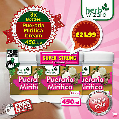 3 x BREAST ENLARGEMENT 100% PURE PUERARIA MIRIFICA CREAM VERY STRONG  BIG QTY