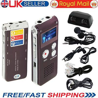 USB Rechargeable 8GB Memory Digital Sound Voice Recorder Player Dictaphone Black