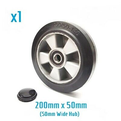 200/50 - 140 rubber steer wheel for hand pallet/ pump truck (50mm hub width)