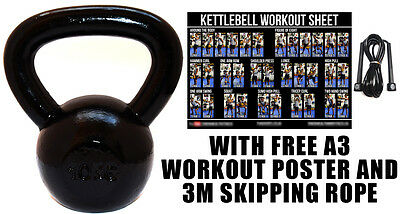 Fxr Sports 10Kg Cast Iron Kettlebell Strength Training Home Gym Fitness + Rope