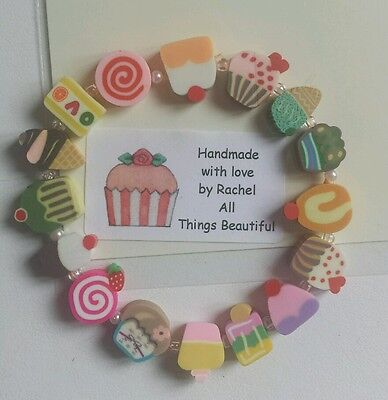 GIRLS.Childrens Bracelet..Cupcake lolly.Ideal party bag,Stocking gift.