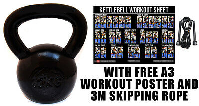 Fxr Sports 12Kg Cast Iron Kettlebell Strength Training Home Gym Fitness + Rope