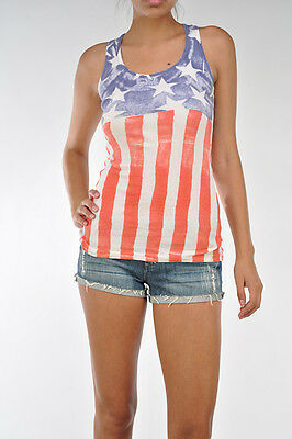 T-Party Red White & Blue Vintage Wash American Flag Ribbed Tank Top NWT S M L