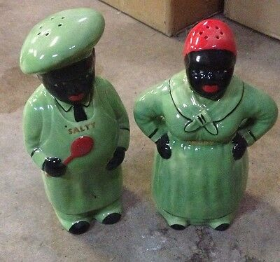 Large Aunt Jemima Salt Pepper Shaker Black Green Kitchen Country Home South