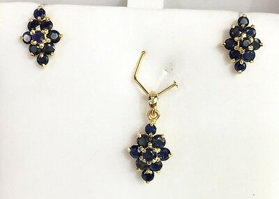 14k Solid Yellow Gold Diamond Shape Stud Earrings &Pendant Set, Natural Sapphire