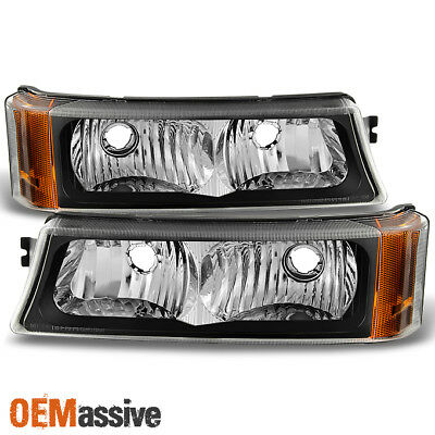 pair left right black diamond headlight bumper parking signal lamps amber