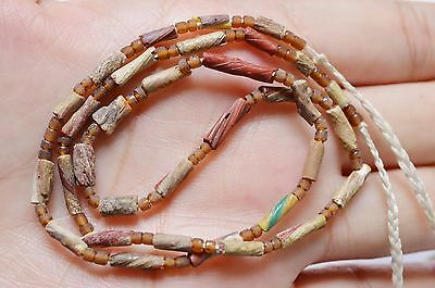 Ancient Roman Glass Beads 1 Strand Yellow Brown 100-200 Bc 0404