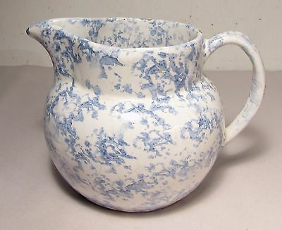 Old Blue and White Bybee Sponge Ware Pitcher